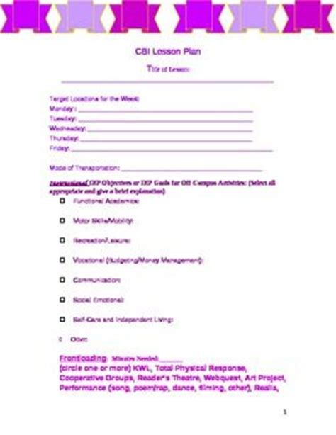special education lesson plan template free special education cbi community based blank