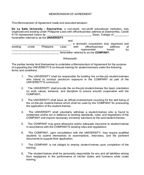template for memorandum of understanding in business sle business partnership agreement form 8 free