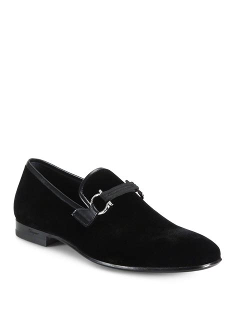 black velvet loafers mens ferragamo velvet loafers in black for lyst