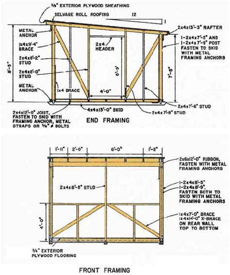 Free 12x12 Shed Blueprints by Kelana 10 X 8 Pent Shed Plans To Build Diy