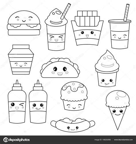 imagenes de kawaii food para colorear linda comida r 225 pida comida vector de stock 169 ninamunha