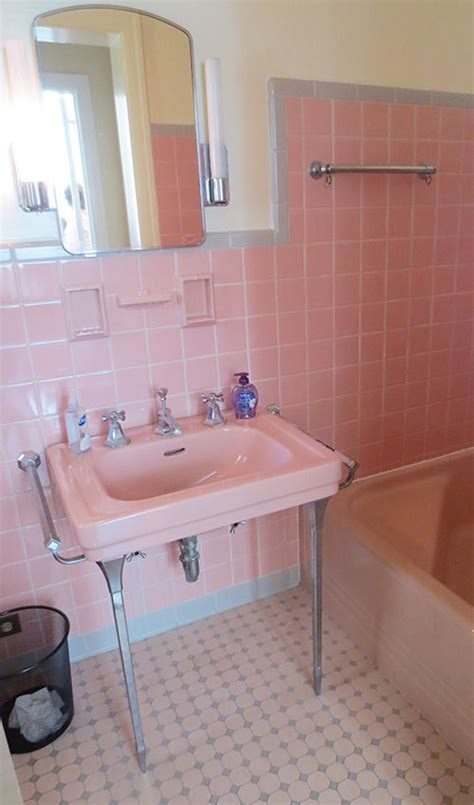 grey and pink bathroom 6 vibrant 1950 classic restrooms the comer residence in