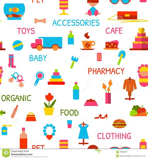 pattern goods vector seamless pattern with consumer goods stock photo