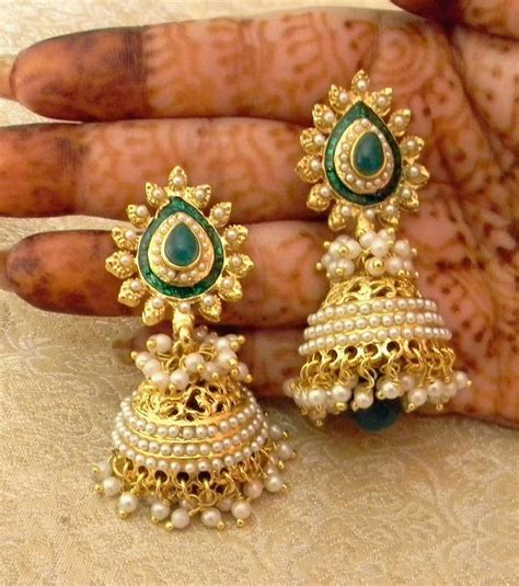 design earrings online buy gorgeous green gold plated bandani jhumka earrings online