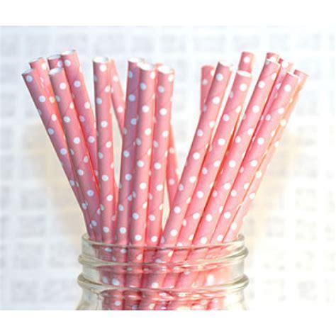 Paper Straws   pink polka dot x25