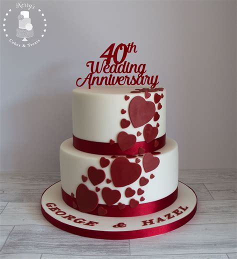 40th (Ruby) Wedding Anniversary cake. White with ruby red