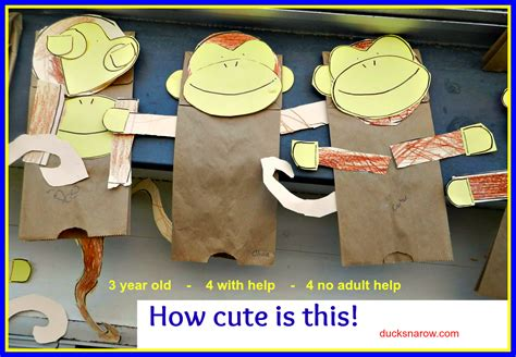 Paper Bag Monkey Craft - make a paper bag monkey puppet with your preschoolers