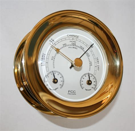 Thermometer Hygrometer brass barometer thermometer hygrometer capstan style 0p fcc precision