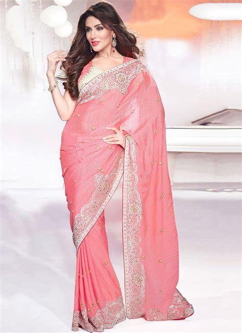 Pink Saree appealing pink color georgette saree