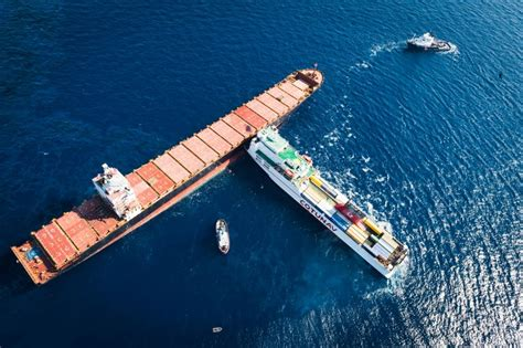 boat crash corsica italy and france race to clean up oil spill after cargo