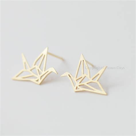 origami crane earrings in gold blessing of the earrings