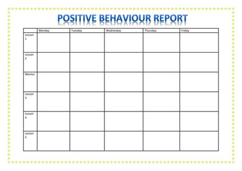 behaviour report card template positive behaviour report by a88i teaching resources tes