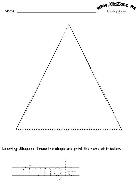 triangle printable worksheets for preschoolers shapes recognition practice worksheet trace triangles