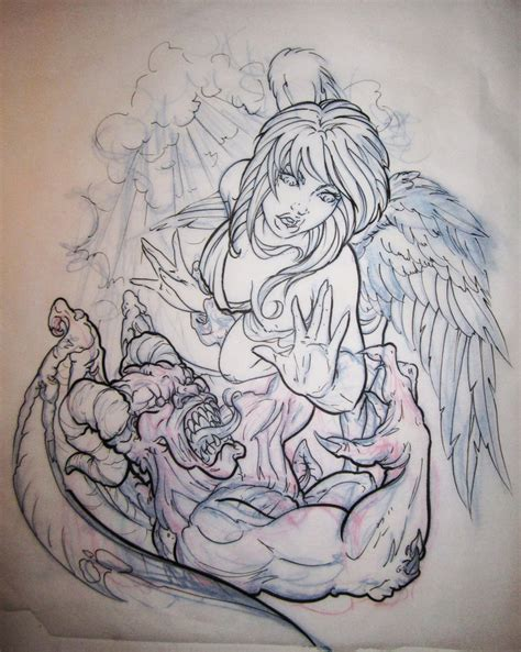 fighting angel tattoo designs vs demons by tka13 on deviantart