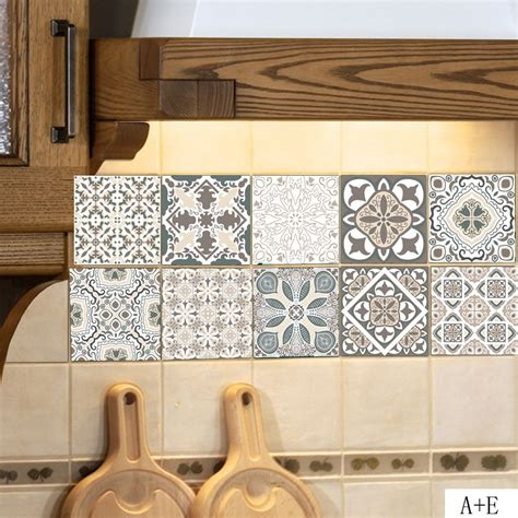 european style retro pattern tile floor sticker pvc
