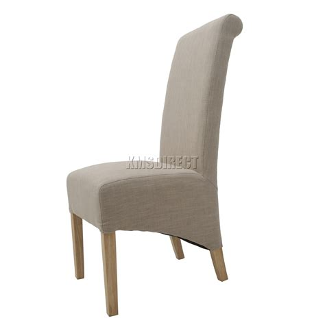 Fabric High Back Dining Chairs Foxhunter 2x Linen Fabric Dining Chairs Scroll High Back Springed Seat New