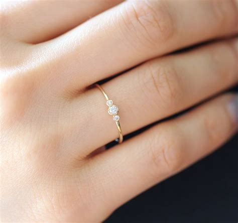 simple gold ring three ring in 14k solid