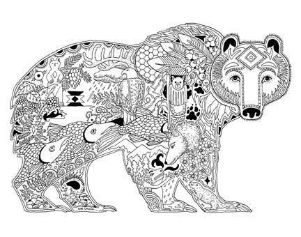 bear mandala coloring pages animal spirit sts earthart coloring pages