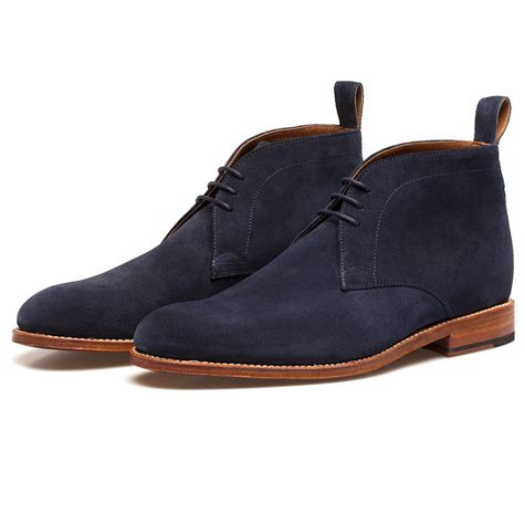 suede chukka boots grenson navy suede chukka boots in blue for lyst
