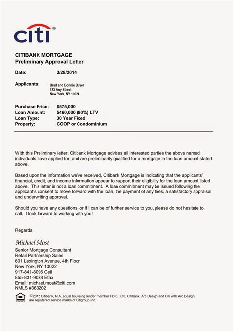 Mortgage Business Letter Approval Letters Writing Professional Letters