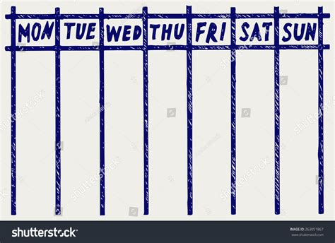 edit doodle calendar weekly calendar doodle style stock vector illustration