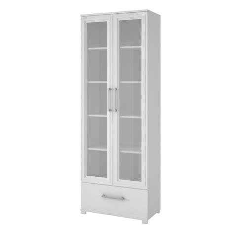 manhattan comfort serra 1 0 white 5 shelf bookcase manhattan comfort serra 5 shelf curio cabinet in white