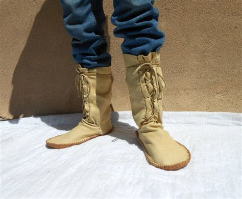 Handmade American Boots - moccasin boots handmade calf height from faemoon wolf designs