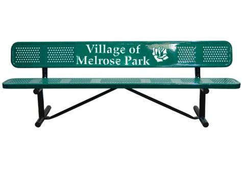 logo bench 15 custom perforated logo bench commercial site furnishings