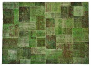 forest green knotted patchwork overdyed area rug