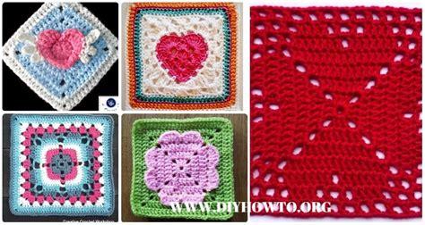 crochet heart granny square  patterns tutorials