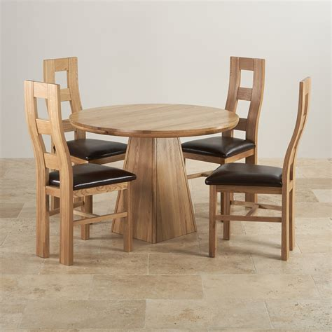 Circular Oak Dining Table And Chairs Furniture Table Dining Sets Oak Furniture Land Oak Dining Table Set