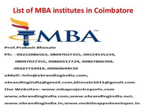 Coimbatore Mba by List Of Mba Institutes In Coimbatore