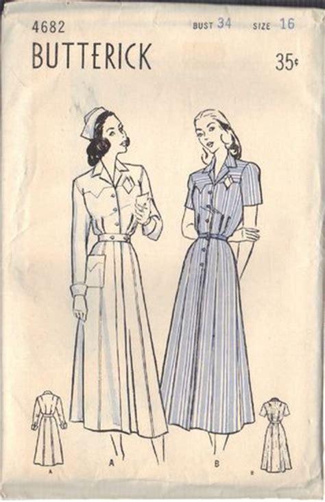 vintage nurse pattern butterick pattern 4682 great 1940s pattern for nurse
