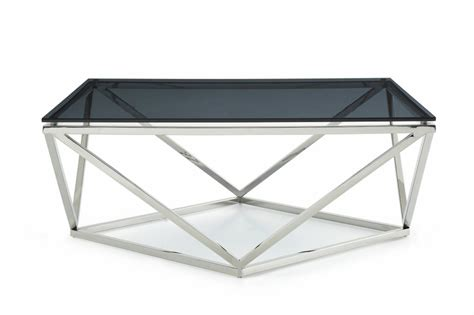 Modrest Vector Modern Smoked Glass Stainless Steel Glass And Stainless Steel Coffee Table