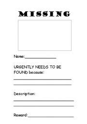 printable missing poster english worksheets missing poster