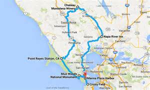 wine country northern california map ev trip san francisco presidio wine country and