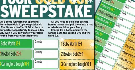 Cheltenham Gold Cup Sweepstake - cheltenham gold cup sweepstake will you be lucky in the festival feature race today