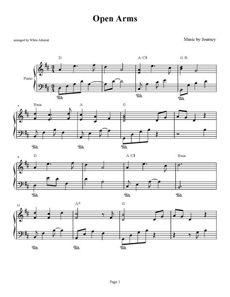tutorial piano open arms open arms journey piano plateau sheet music
