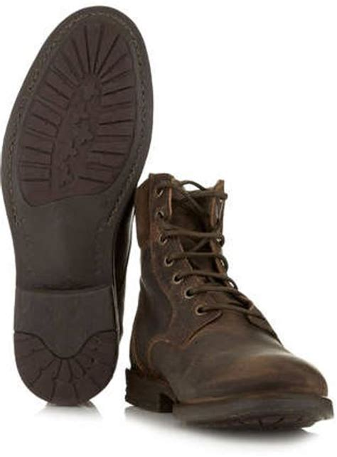 topman brown leather cuff boots in brown for lyst
