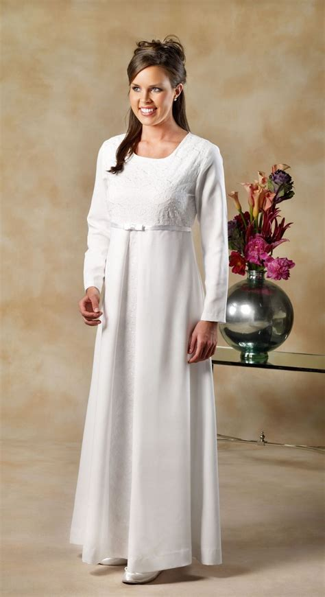 White Elegan temple dress 100 polyester satin back shantung modestly fitted white elegance dress has