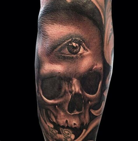 eye tattoo with skull skull and all seeing eye tattoo ink i like pinterest