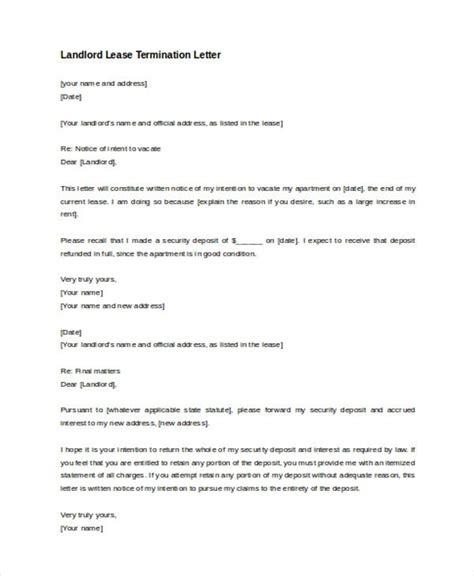 landlord lease termination letter inspirational sample