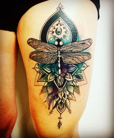 watercolor tattoos mandala dragonfly on mandala and watercolor background beautifully