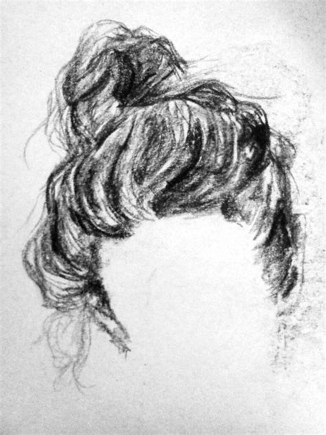 sketches of hair art drawing charcoal hair bun cross over
