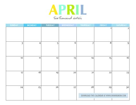 printable planner april 2016 free printable your lovely 2016 calendars