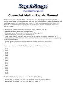 2005 Chevrolet Malibu Owners Manual Chevrolet Malibu Repair Manual 1997 2012