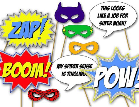 printable photo booth party props these printable superhero photo booth props 12 will