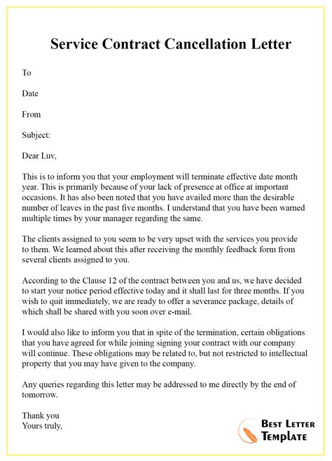 cancellation letter template contract format sample