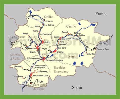 andorra on a map andorra karte provinzen