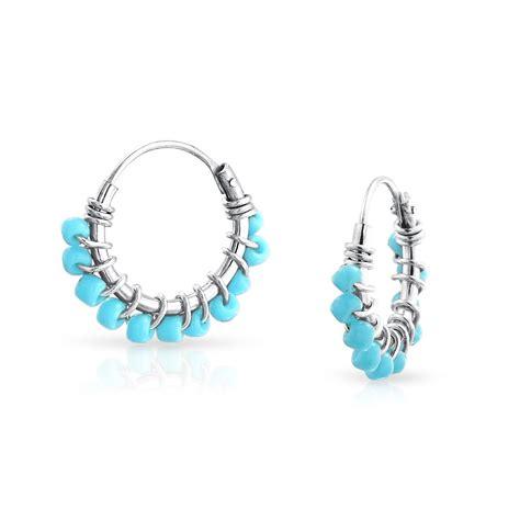 bling jewelry turquoise beaded endless huggie hoop